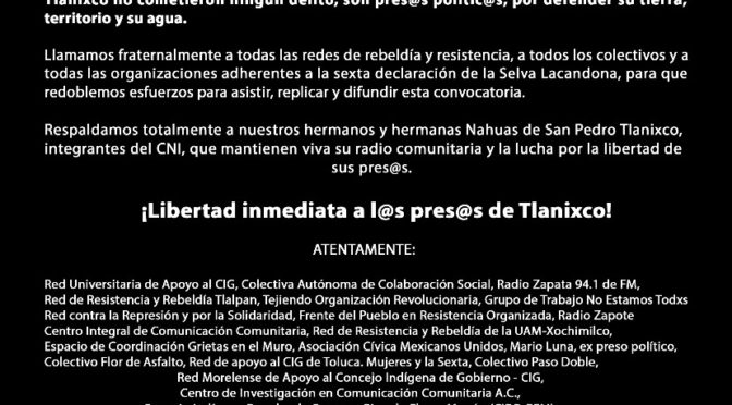 ¡Se confirma mitin por la libertad de los presos nahuas de Tlanixco!