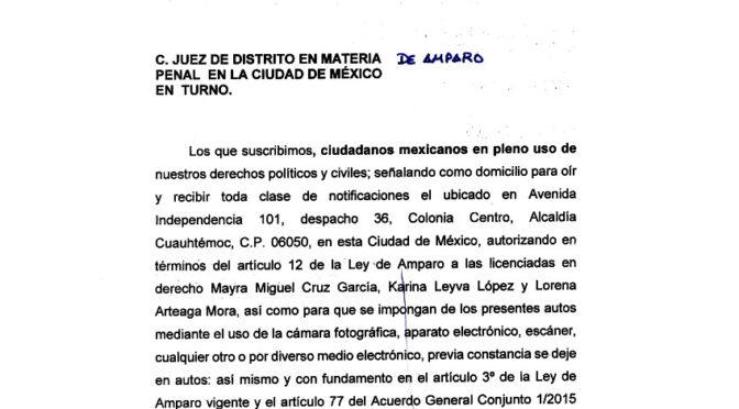 MEXICANOS UNIDOS Presentó demanda de amparo en contra de la inacción del Fiscal General de la República